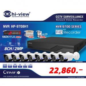 Promotion IP Camera Series /NVR HP-9708H1 เครื่องบันทึก 8 ช่องพร้อมกล้อง IP HP-78B20PE จำนวน 8 กล้อง