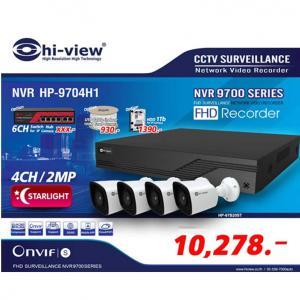 Promotion IP Camera Series /NVR HP-9704H1 เครื่องบันทึก 4 ช่องพร้อมกล้อง IP HP-97B20ST จำนวน 4 กล้อง